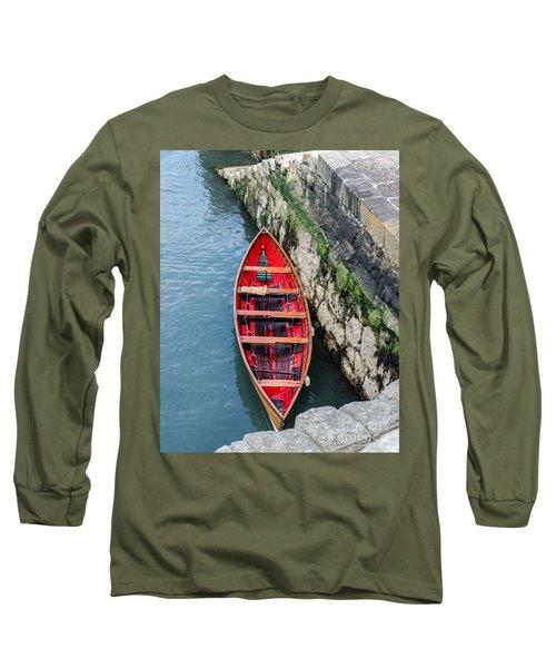 Red Canoe Long Sleeve T-Shirt by Mary Carol Story