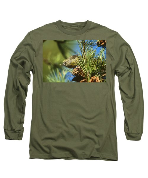 Red Crossbill Eating Cone Seeds Long Sleeve T-Shirt