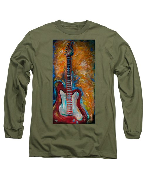 Red Guitar Long Sleeve T-Shirt by Linda Olsen