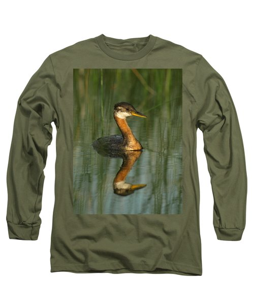 Long Sleeve T-Shirt featuring the photograph Red-necked Grebe by James Peterson