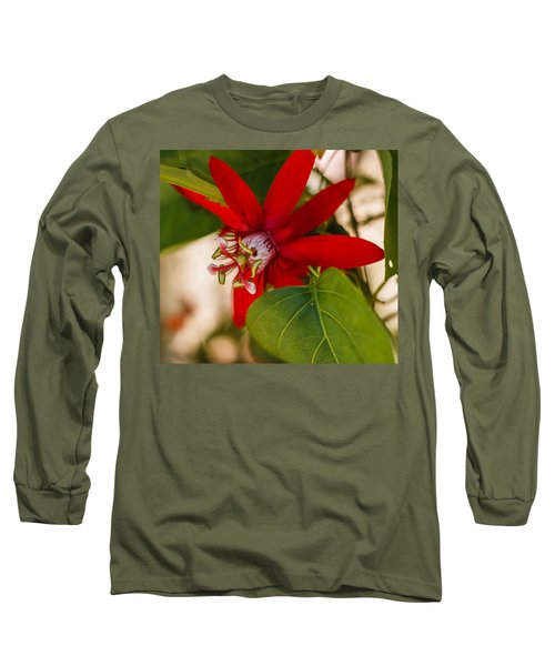 Long Sleeve T-Shirt featuring the photograph Red Passion Flower by Jane Luxton