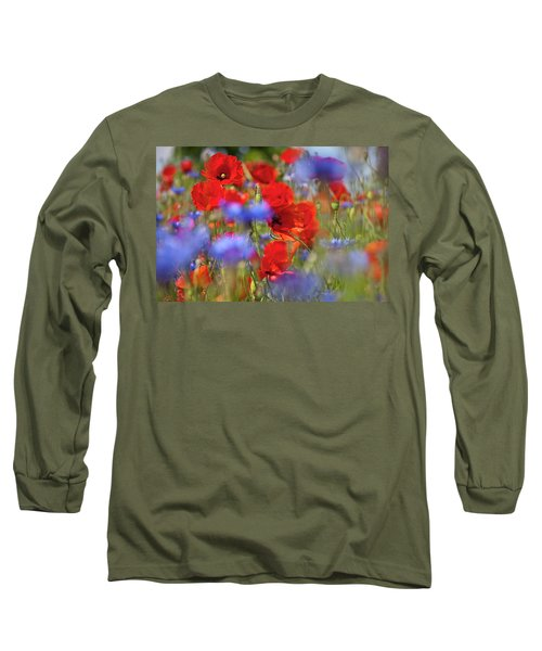Red Poppies In The Maedow Long Sleeve T-Shirt by Heiko Koehrer-Wagner