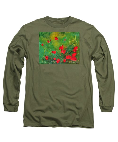 Long Sleeve T-Shirt featuring the painting Red Poppies by Teresa Wegrzyn