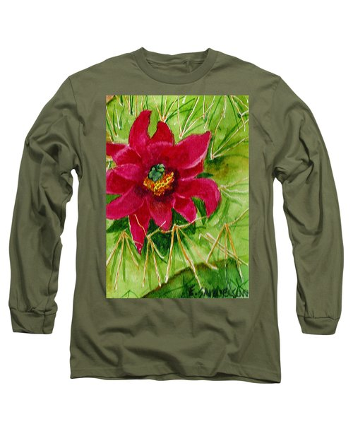 Red Prickly Pear Long Sleeve T-Shirt by Eric Samuelson