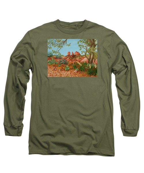 Long Sleeve T-Shirt featuring the painting Landscapes Desert Red Rocks Of Sedona Arizona by Katherine Young-Beck