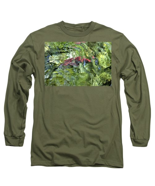 Long Sleeve T-Shirt featuring the photograph Red Salmon In Steep Creek by Cathy Mahnke