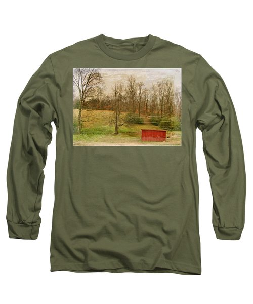 Red Shed Long Sleeve T-Shirt by Paulette B Wright