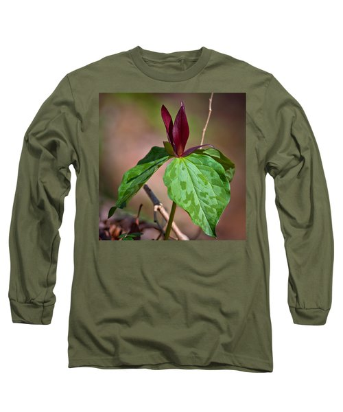 Red Trillium Long Sleeve T-Shirt by Melinda Fawver