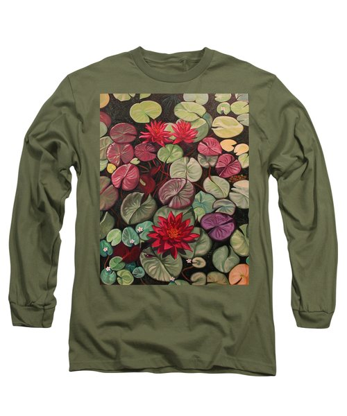 Red Water Lilies Long Sleeve T-Shirt