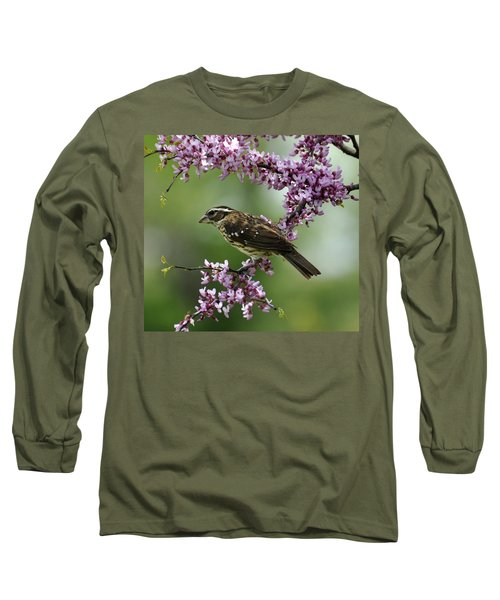 Redbud With Grosbeak Long Sleeve T-Shirt