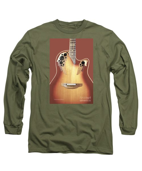 Redish-brown Guitar On Redish-brown Background Long Sleeve T-Shirt