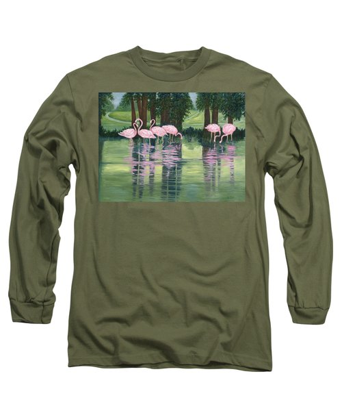Reflections In Pink Long Sleeve T-Shirt