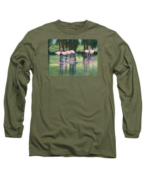 Long Sleeve T-Shirt featuring the painting Reflections In Pink by Karen Zuk Rosenblatt