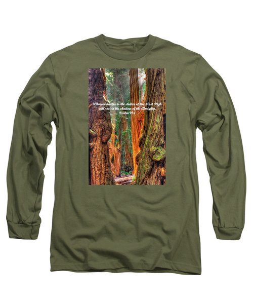 Rest In The Shadow Of The Almighty - Psalm 91.1 - From Sunlight Beams Into The Grove At Muir Woods Long Sleeve T-Shirt