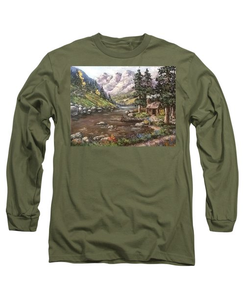 Long Sleeve T-Shirt featuring the painting Retreat by Megan Walsh