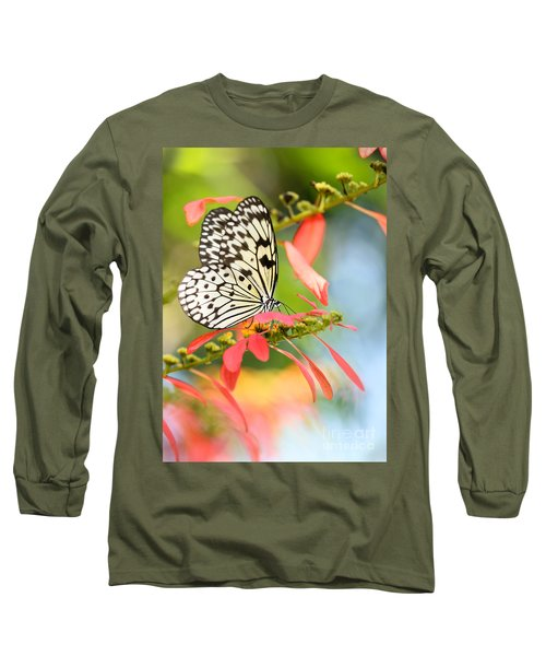 Rice Paper Butterfly In The Garden Long Sleeve T-Shirt