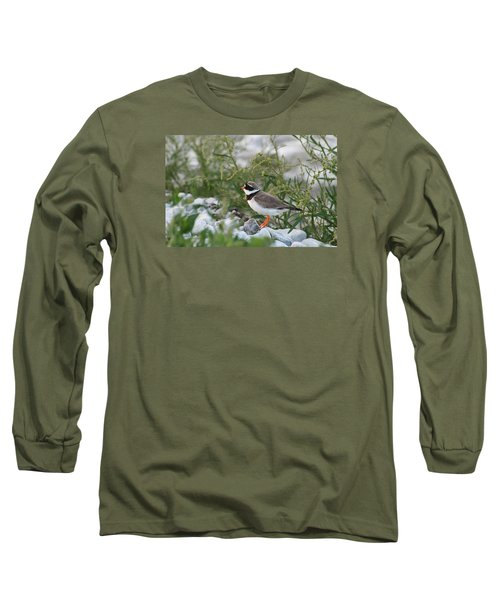 Ringed Plover On Rocky Shore Long Sleeve T-Shirt