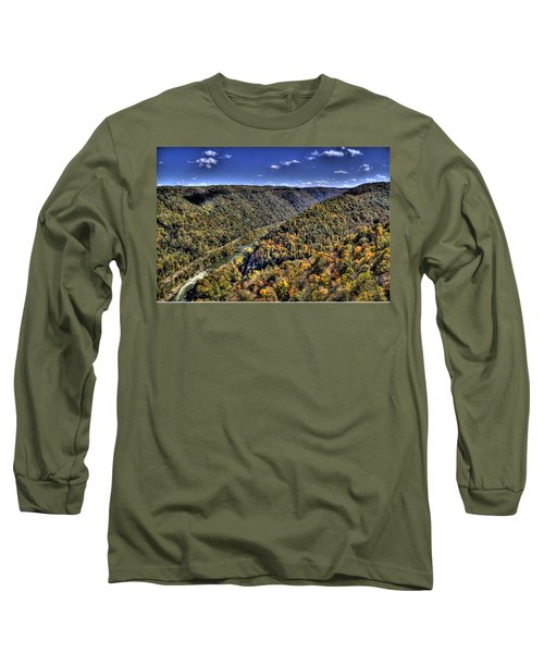River Running Through A Valley Long Sleeve T-Shirt by Jonny D