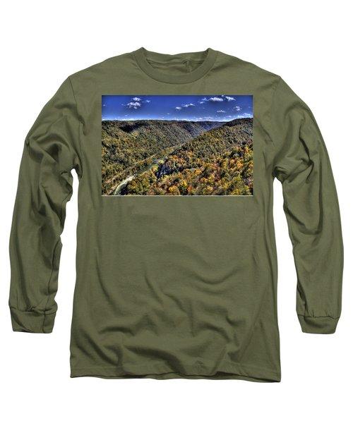 Long Sleeve T-Shirt featuring the photograph River Running Through A Valley by Jonny D