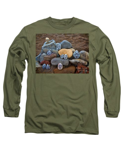 Rocky Faces In The Sand Long Sleeve T-Shirt by David Smith