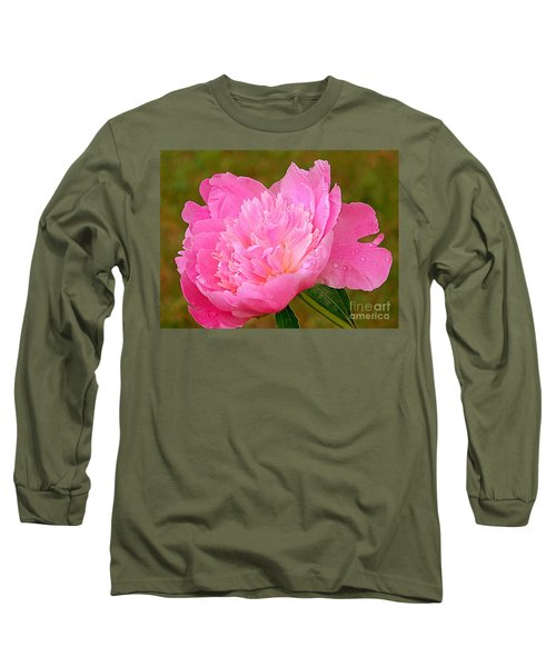 Pink Peony Long Sleeve T-Shirt by Eunice Miller