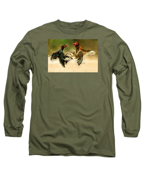 Rooster Fight Hd Long Sleeve T-Shirt