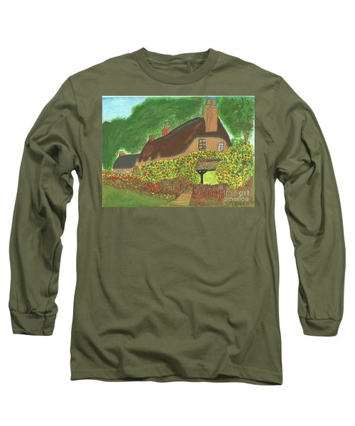 Long Sleeve T-Shirt featuring the painting Rose Cottage by Tracey Williams
