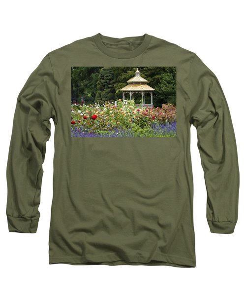 Long Sleeve T-Shirt featuring the photograph Rose Garden Gazebo by Sonya Lang