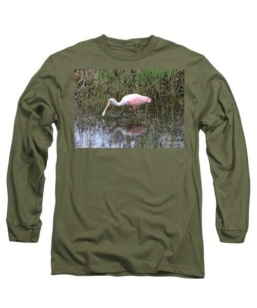 Roseate Spoonbill Reflection Long Sleeve T-Shirt by Carol Groenen