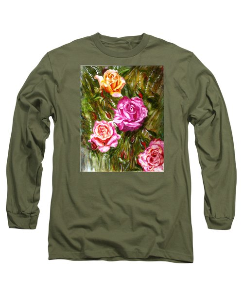 Long Sleeve T-Shirt featuring the painting Roses by Harsh Malik