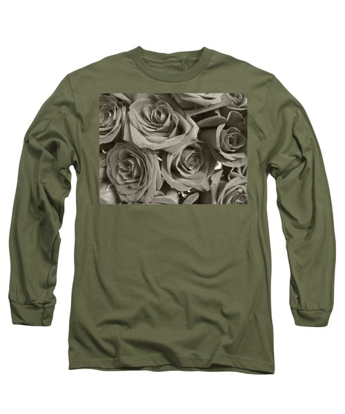 Long Sleeve T-Shirt featuring the photograph Roses On Your Wall Sepia by Joseph Baril