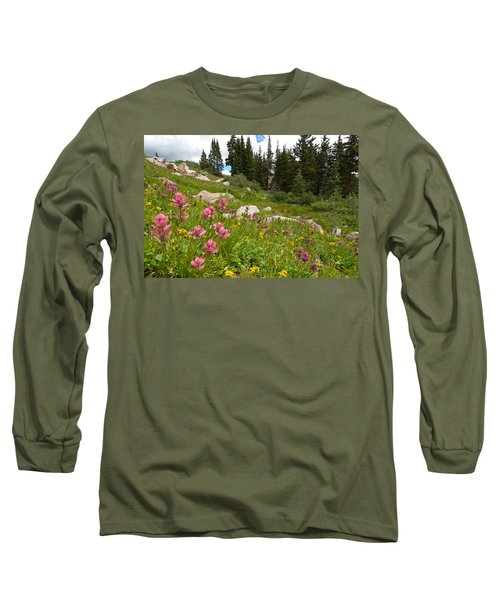 Rosy Paintbrush And Trees Long Sleeve T-Shirt