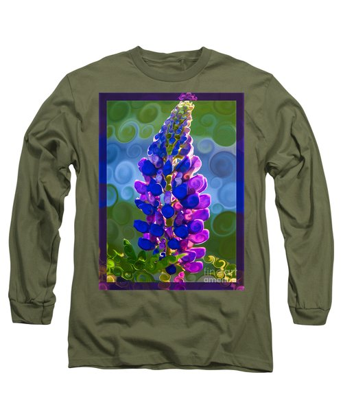 Long Sleeve T-Shirt featuring the painting Royal Purple Lupine Flower Abstract Art by Omaste Witkowski