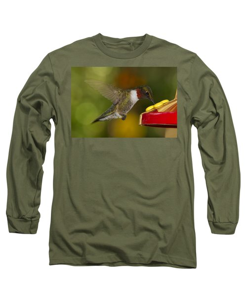 Long Sleeve T-Shirt featuring the photograph Ruby-throat Hummer Sipping by Robert L Jackson