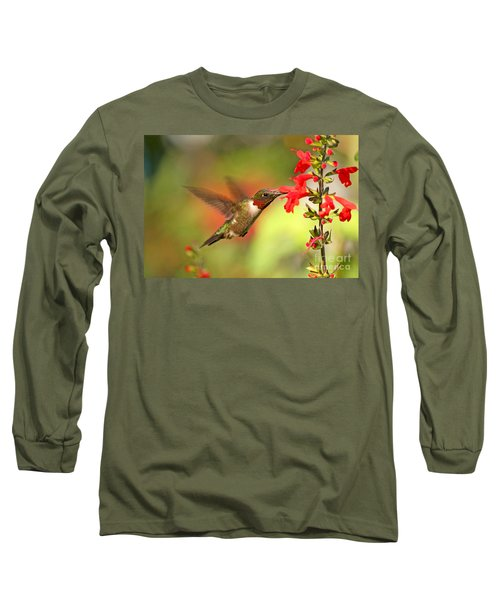 Ruby Throat Hummingbird Photo Long Sleeve T-Shirt by Luana K Perez