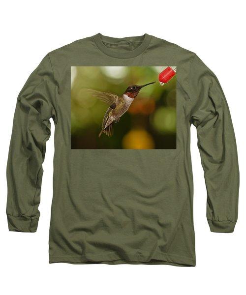 Long Sleeve T-Shirt featuring the photograph Ruby-throat Hummingbird by Robert L Jackson