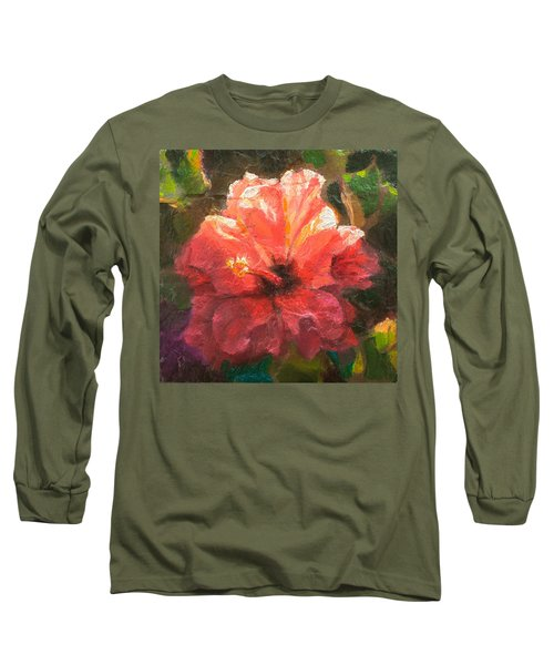 Ruffled Light Double Hibiscus Flower Long Sleeve T-Shirt