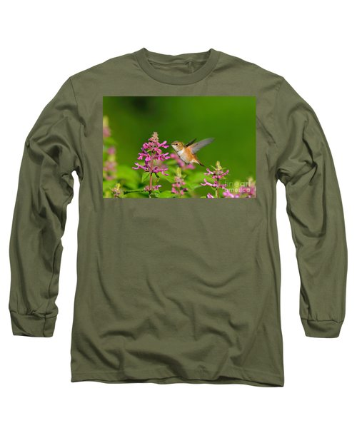 Rufous Hummingbird Feeding Long Sleeve T-Shirt