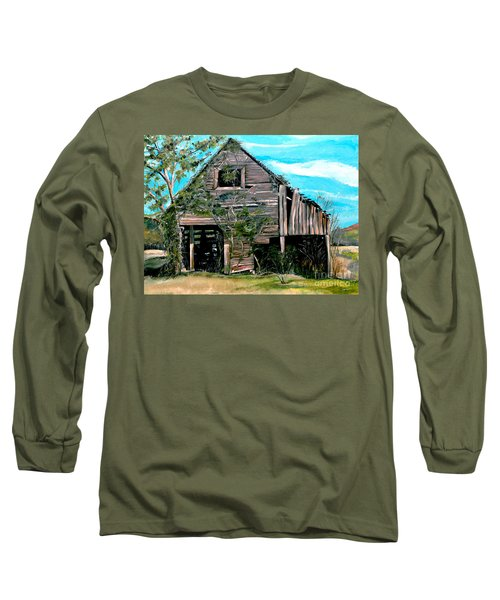 Long Sleeve T-Shirt featuring the painting Rustic Barn - Mooresburg - Tennessee by Jan Dappen