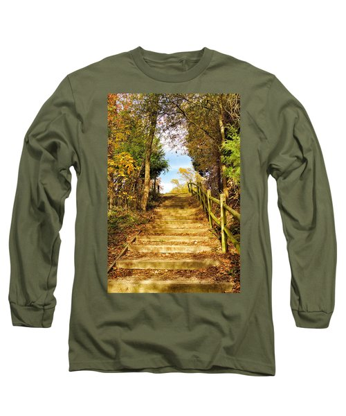 Long Sleeve T-Shirt featuring the photograph Rustic Stairway by Jean Goodwin Brooks
