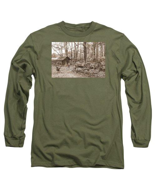 Rustic Wagon Long Sleeve T-Shirt by Debbie Green