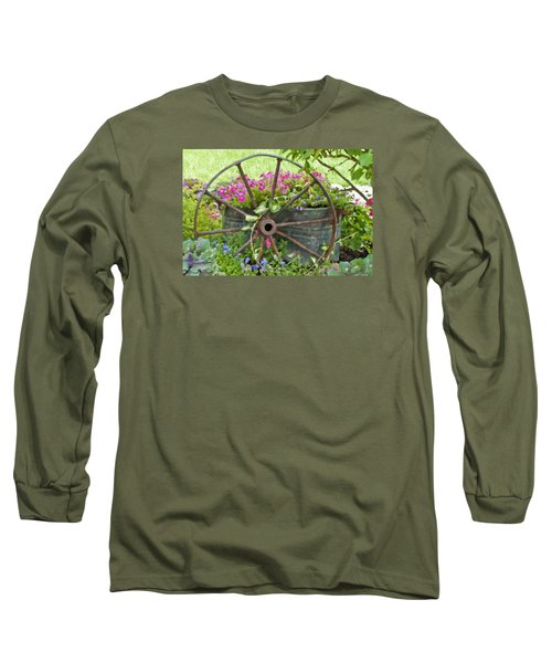 Long Sleeve T-Shirt featuring the photograph Rustic Wheel Digital Artwork by Sandra Foster
