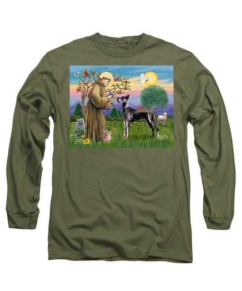 Saint Francis Blesses A Black Great Dane Long Sleeve T-Shirt