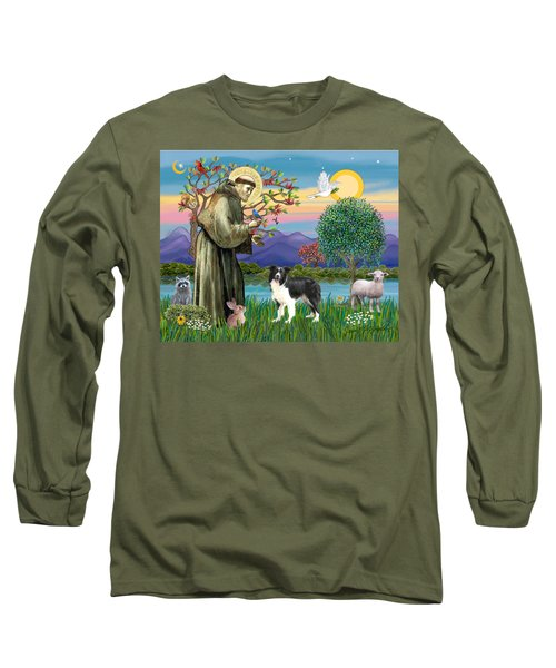 Saint Francis Blesses A Border Collie Long Sleeve T-Shirt