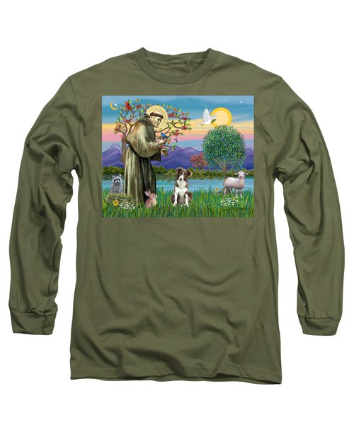 Saint Francis Blesses A Brown And White Border Collie Long Sleeve T-Shirt