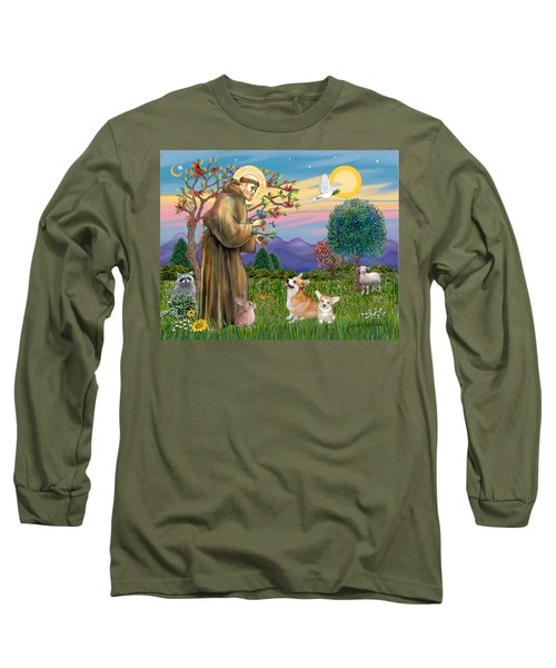 Saint Francis Blesses A Corgi And Her Pup Long Sleeve T-Shirt