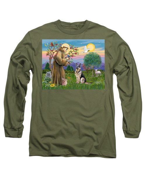 Saint Francis Blesses A German Shepherd Long Sleeve T-Shirt