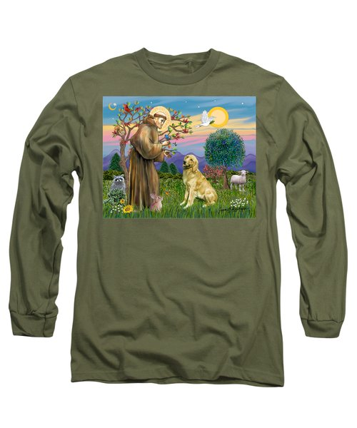 Long Sleeve T-Shirt featuring the digital art Saint Francis Blesses A Golden Retriever by Jean Fitzgerald