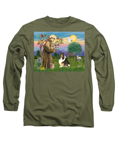 Saint Francis Blesses A Sable And White Collie Long Sleeve T-Shirt