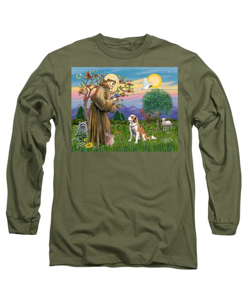 Saint Francis Blesses A Welsh Springer Spaniel Long Sleeve T-Shirt